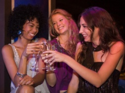 Ladies night at a bar_toasting