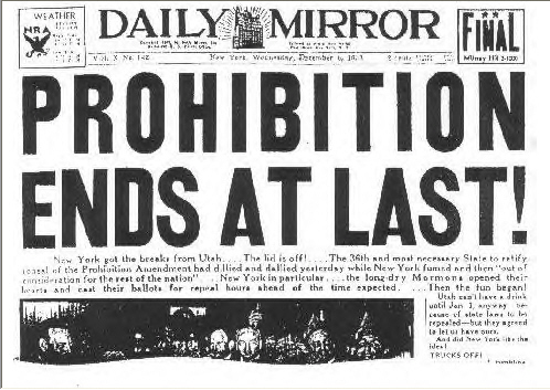 End of Prohibition Headline_Dec. 5 1933_Repeal Day