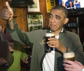 Obama Drinking a Beer_Happy Repeal Day