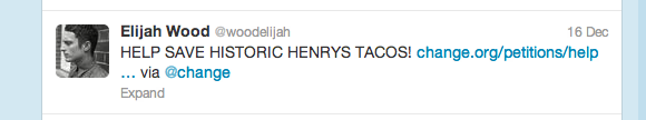 Save Henry's Tacos_Elijah Wood Tweet