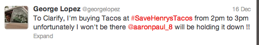 Save Henry's Tacos_George Lopez Tweet